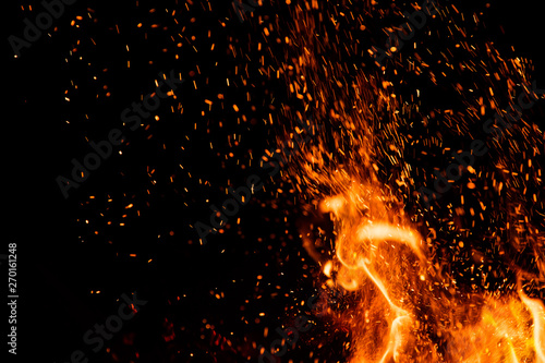 Obraz Detail of fire sparks isolated on black background - fototapety do salonu