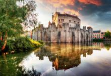 Ghent - Castle Gravensteen At Dramatic Sunrise
