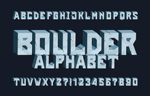 Boulder Alphabet Font. 3D Cracked Letters And Numbers. Stock Vector Typescript For Your Typography Design.