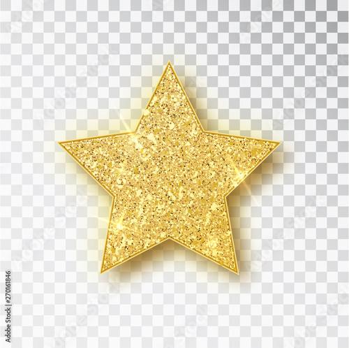 Fototapeta Gold glitter vector star. Golden sparkle luxury design element. Vector particles. obraz