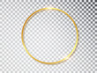 Gold shiny glowing vintage frame with shadows isolated on transparent background. Golden luxury realistic round border. Vector illustration.
