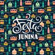 Latin American holiday, the June party of Brazil. Festa Junina. Vector illustration.