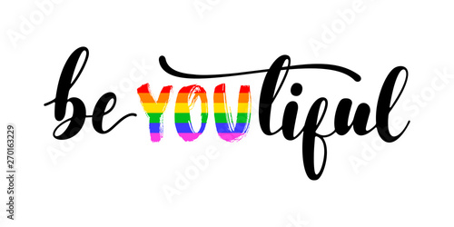 BeYOUtiful - handwritten lettering with black and letters in colors of LGBT rainbow flag isolated on white background Canvas Print