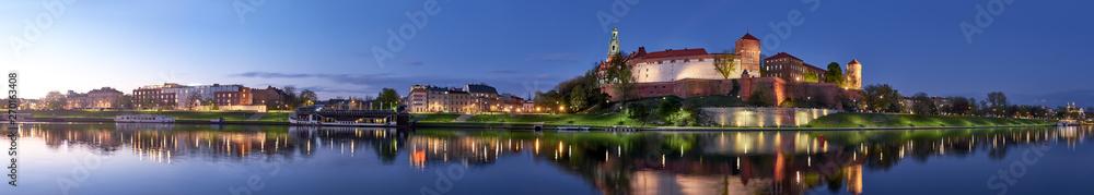 Obraz Poland, Krakow, Wawel hill at night, panoramic view fototapeta, plakat