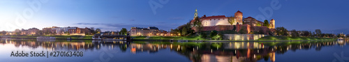 Photo  Poland, Krakow, Wawel hill at night, panoramic view