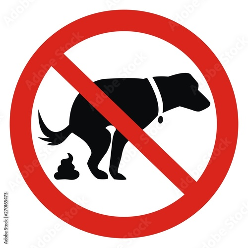 Fototapeta Dog and excrement, no dog pooping sign