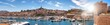 canvas print picture - Panorama Alter Hafen Marseille im Gegenlicht