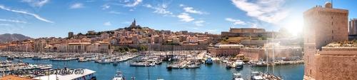 Obraz Panorama Alter Hafen Marseille im Gegenlicht - fototapety do salonu