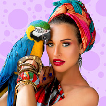 Portrait Of Young Attractive Woman In African Style With Ara Parrot On Her Hand On Colorful Polka Dot Background