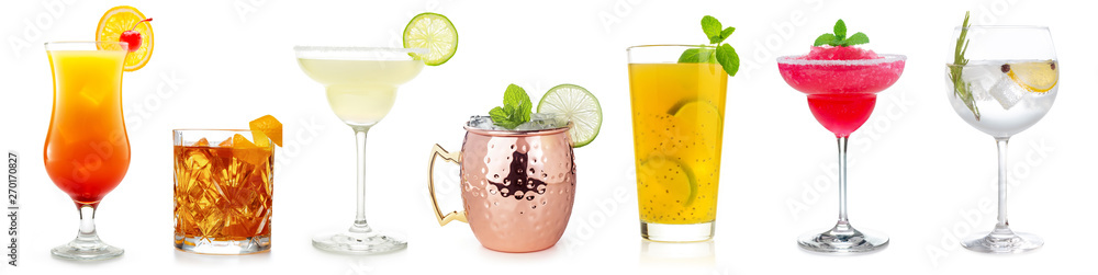 Fototapety, obrazy: cocktails collection isolated on white background