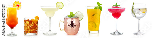 Fotografía  cocktails collection isolated on white background
