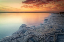 Dead Sea Salt In Sunset Time