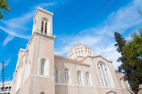 The Metropolitan Cathedral of the Annunciation, is the cathedral church of the Archbishopric of Athens and all Greece Canvas Print