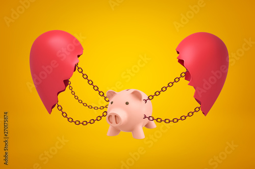 Photo 3d rendering of pink piggy bank suspended on chains between two parts of broken heart on yellow background