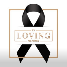 In Loving Memory Text And Black Ribbon Sign In Square Frame Vector Design