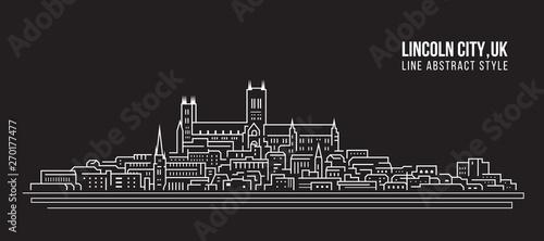 Cityscape Building Line art Vector Illustration design -  Lincoln city ,UK Tableau sur Toile