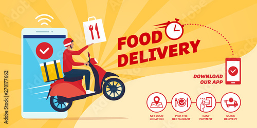 Fototapeta Fast food delivery app on a smartphone obraz