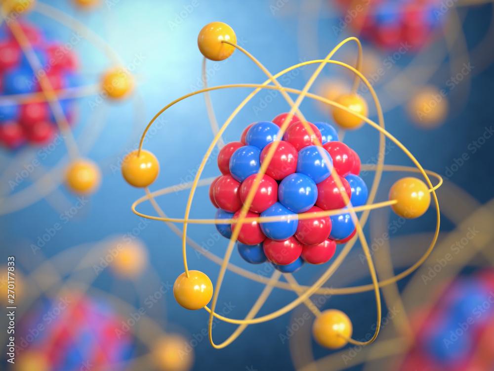 Fototapeta Atoms 3d rendering, protons neutrons and electrons