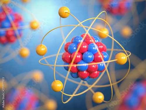Fotografering Atoms 3d rendering, protons neutrons and electrons