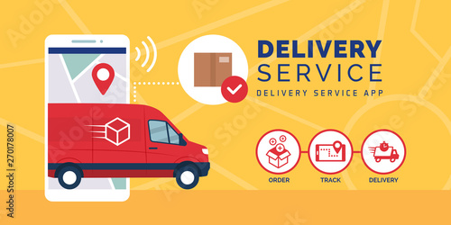 Fototapeta Fast delivery service app on smartphone