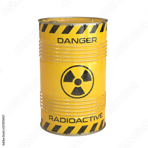 Photo Radioactive waste yellow barrels with radioactive symbol 3d rendering