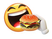 Emoji Eating Burger Isolated O...