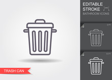 Garbage Can. Line Icon With Ed...