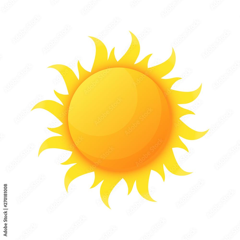 Fototapeta Sun illuminating warmth and heat vector, isolated sunburst, solar planet floating, isolated icon in flat style. Sunlight and fine weather beam and sunburst
