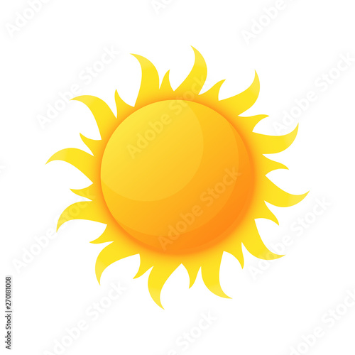 Fototapeta Sun illuminating warmth and heat vector, isolated sunburst, solar planet floating, isolated icon in flat style. Sunlight and fine weather beam and sunburst obraz