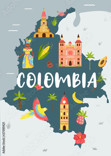 Bright illustrated map of Colombia. Travel banner Canvas Print