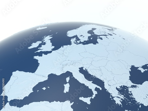 European countries 3d illustration, European continent with visible