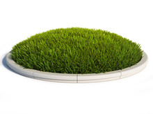 Round Grass Surface With Concrete Rim 3d Rendering