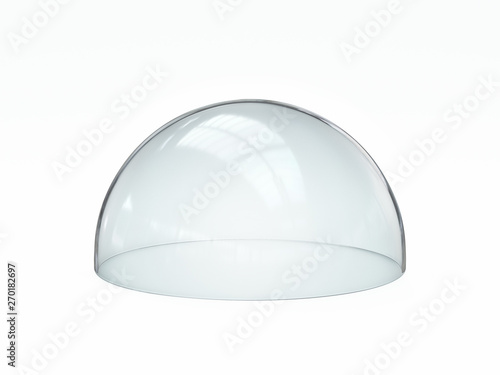 Empty glass dome, transparent hemisphere cover 3d rendering Fototapet