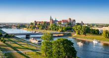 Poland. Krakow Aerial Panorama...