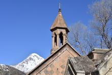 St John The Baptist Church Steeple In Sunlight With Mt Kazbek In Background