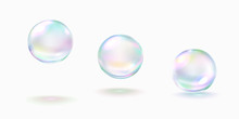 Realistic Soap Bubble With Rainbow Colors Isolated On White Background. Vector Water Foam Elements Set. Colorful Iridescent Glass Ball Or Sphere Template.