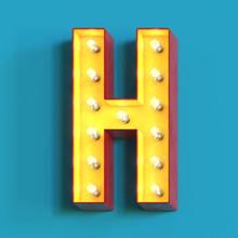 Light Bulb Glowing Font, Letter H