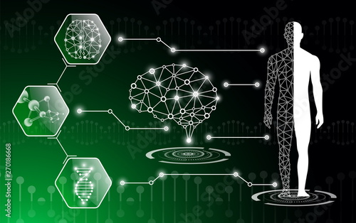 Canvas Print abstract background technology concept in green light,human body heal,technology