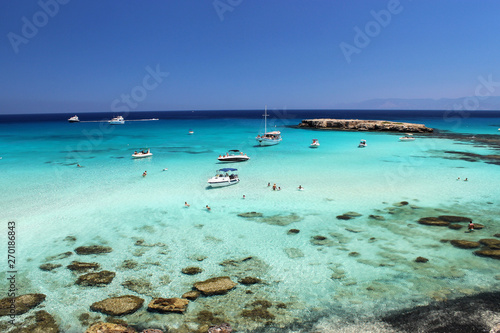 Spoed Foto op Canvas Cyprus Blue lagoon cyprus pafos in the national park akamas