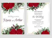 Set Of Christmas Cards With Red Roses