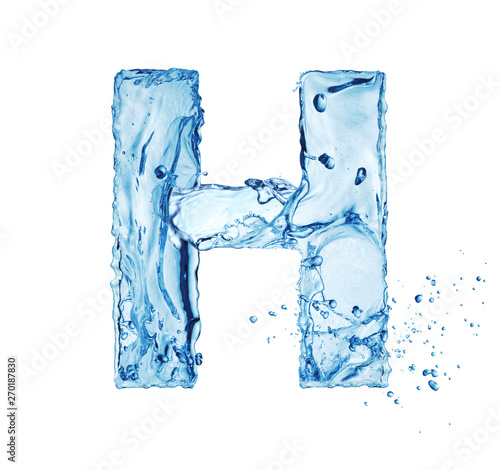 letter H made of water splash isolated on white background Fototapete