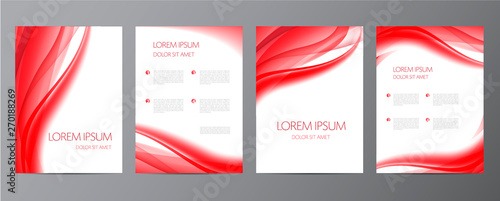 Fotografie, Obraz  Vector set of red wavy abstract covers, brochures, flyers