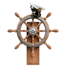 Captain Hat On Ship Wheel Isol...