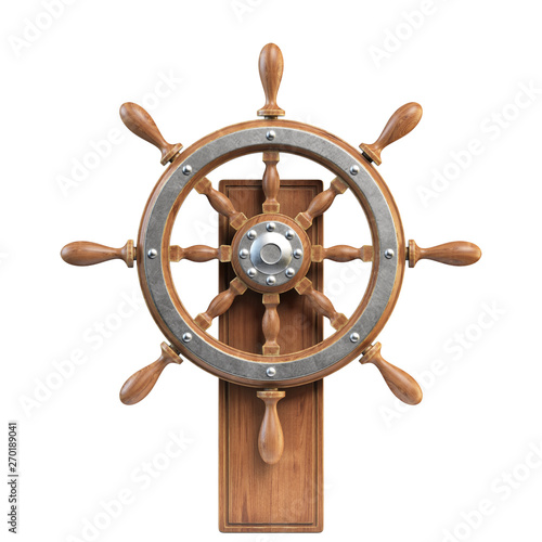 In de dag Schip Ship wheel with stand isolated on white background 3d rendering