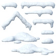 Leinwanddruck Bild - Snow caps set, icicles, snowballs and snowdrifts isolated on white background 3d rendering
