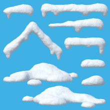 Snow Caps Set, Icicles, Snowballs And Snowdrifts Isolated On Blue Background 3d Rendering