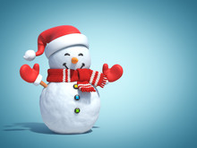 Snowman  Poster,  Greeting Card Template, 3d Rendering