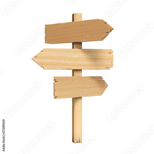 Signpost, signboard, guidepost, wooden road sign 3d rendering