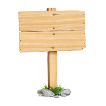 Wooden Sign Board Isolated On ...
