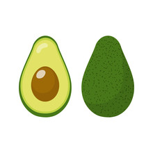 Fresh Whole And Half Avocado Isolated On White Background. Organic Food. Cartoon Style. Vector Illustration For Design.